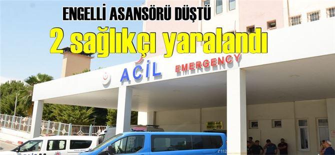 Tarsus'ta engelli asansörü düştü, 2 sağlıkçı yaralandı