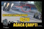 Araç çarptı, motosiklet sürücüsü uçtu!